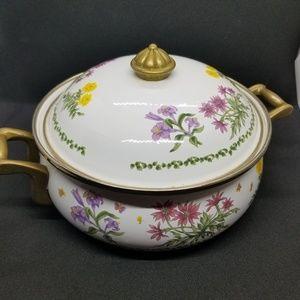 Lincoware Enamelware Casserole Dish & Lid Flowers